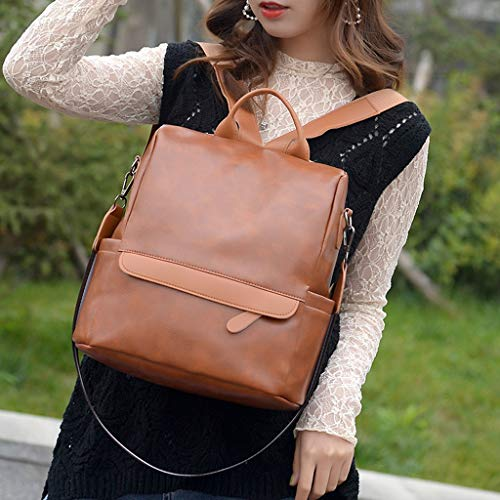 RQWEIN Women Backpack Purse Vintage Washed Leather Rucksack Shoulder Bag Casual Travel Daypack Large Capacity Satchel