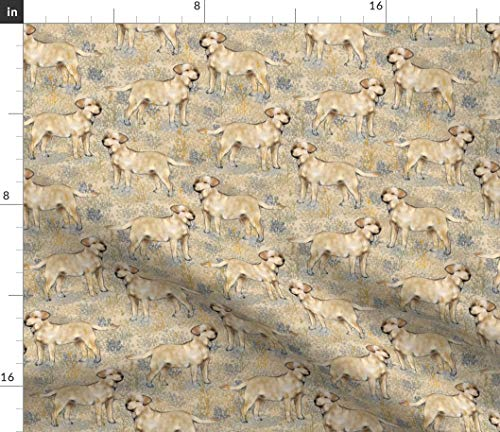 Spoonflower Labrador Retriever Fabric - Retriever Dog Puppy Landscape Print on Fabric by The Yard - Petal Signature Cotton for Sewing Quilting Apparel Crafts Decor