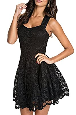 Chase Secret Womens Floral Lace Chiffon Mesh Skater Pleated Party Casual Dress