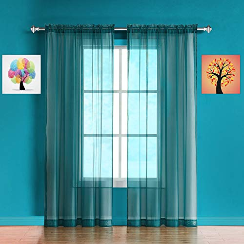 Warm Home Designs Pair of Standard Length Green Teal Sheer Window Curtains Each Voile Drape is 56 X 84 Inches in Size Great for Kitchen Living Kids Room 2 Fabric Panels Included AM Teal 84quot