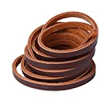 Xiazw Genuine Leather Lace Shoelace for Boat Shoes/Work Boot,One Pair Pack (Coffee)