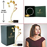 Matashi 24k Gold Plated Red and Yellow Crystal Flower Table Ornament with 16'' Rhodium Plated Necklace by