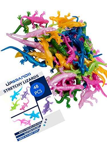 UpBrands 48 Pack Rubber Lizards Toys 3 1/2 Inch Bulk Set Glitter Colors, Kit for Birthday Party Favors for Kids, Goodie Bags, Easter Egg Basket Stuffers, Pinata Filler, Small Toys -