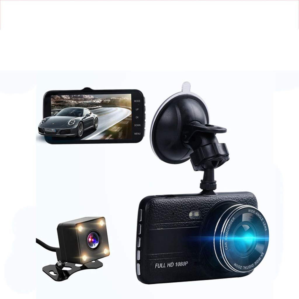 SAN_R Driving Recorder HD reversing Image 1080P Full HD Dual Cameras car Video Recorder 4 inch screen170 ° Wide Angle Cycle Recording G Sensor Motion Detection Parking Monitoring ( Color : C )