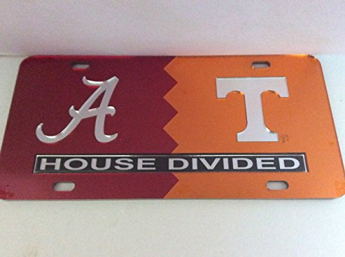 University of Alabama/ University of Tennessee House Divided Laser Cut License Plate Tag , Made and Shipped in the USA