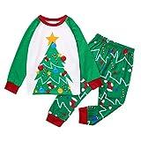 XGao Christmas Pajamas, Pajamas Set Christmas Toddler Baby Print Christmas Tree Xmas Family Clothes Outfit Boys Girls for 1-12 Years Old Green Color (Green, 3-4 Years)