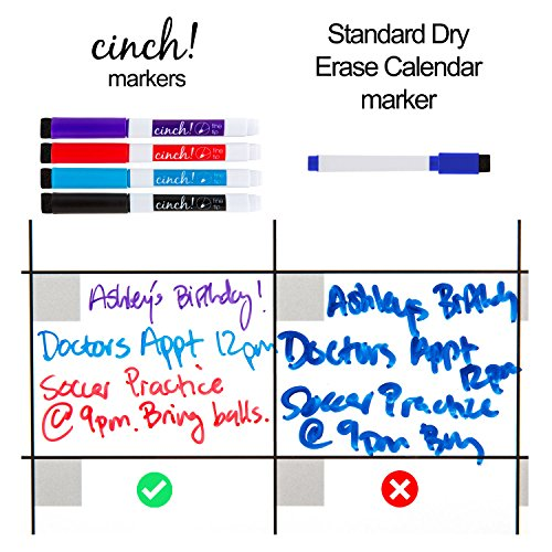 "Magnetic Dry Erase Weekly Calendar for Fridge: with Stain Resistant Technology - 17x12"" - 4 Fine Tip Markers and Large Eraser with Magnets - Whiteboard Organizer Planner: Refrigerator White Board"