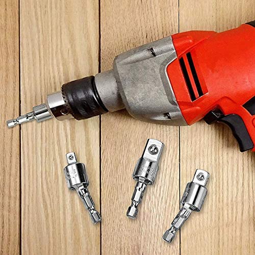 "3 Pcs Power Drill Sockets Adapter Sets,360°Rotatable Hex Shank Impact Driver Socket Adapter 1/4"" 3/8"" 1/2"" Impact Driver Adapter and 1Pcs Right Angle Drill 105 Degree Right Angle Screwdriver set Drill"