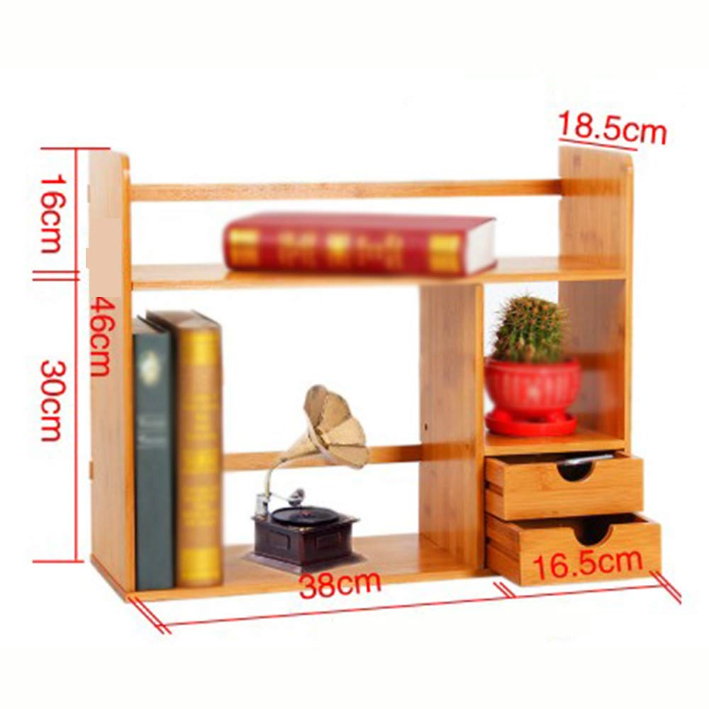 BrownD Bookcase,Bamboo Desktop Bookshelf Storage Rack Drawer Type Suitable for Homes and Offices,BrownA