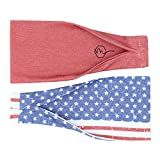 Maven Thread Women's Headband Yoga Running Exercise Sports Workout Athletic Gym Wide Sweat Wicking Stretchy No Slip 2 Pack Set Red White Blue 4th of July FREEDOM