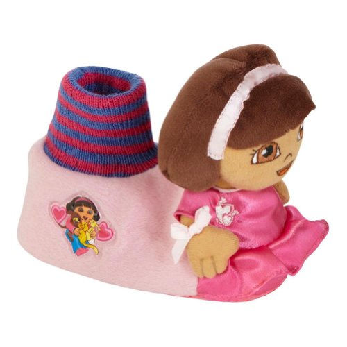 Nickelodeon Toddler Girl Pink Dora the Explorer Slippers Sock Top House Shoes L ()