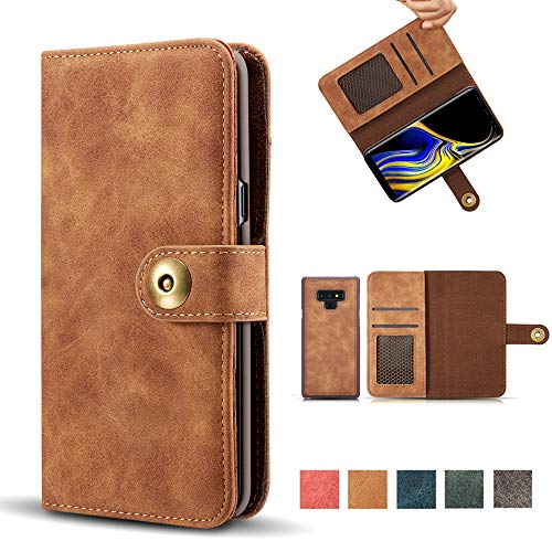 Galaxy Note 9 Case, Wallet Flip Folio Magnetic Detachable PU Leather Case Removable Retro 4 Card Slots Protective Cover with Card Holder for Samsung Galaxy Note 9 - Brown