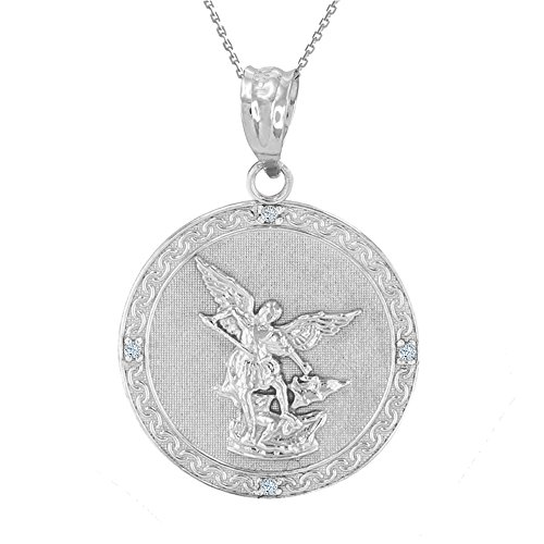 (Sterling Silver Saint Michael The Archangel CZ Round Medal Necklace (1.14