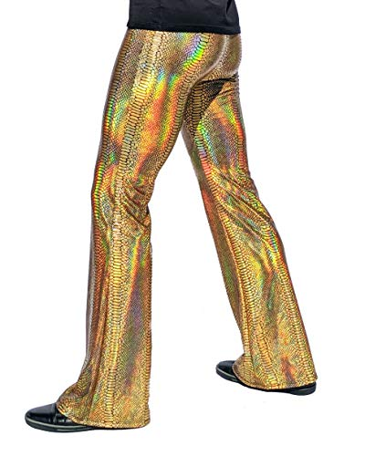 Men's Holographic Flare Pants: USA Made Flared Bell Bottom Fashion Pants (Medium, Snake Iridescent Gold) (Leggings Snake Gold Print)