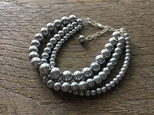 (Three Strand Pewter Stacked Pearl Statement Bracelet)