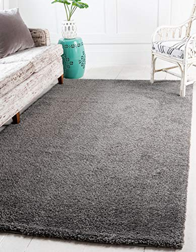 (Unique Loom Solo Collection Solid Plush Kids Gray Area Rug (5' 0 x 7' 7))