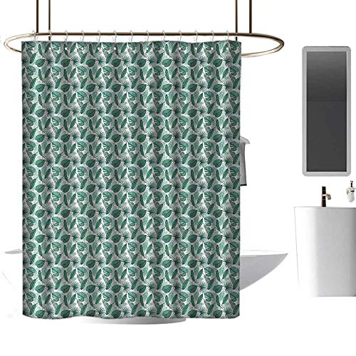 - homehot Shower Curtains Black Panther Banana Leaf,Monstera Areca and Fan Palm Leaves in Green Artistic Natural Pattern,Jade Green White,W48 x L72,Shower Curtain for Men