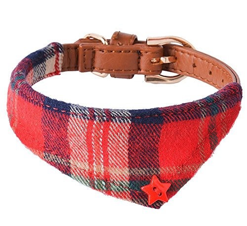 PUPTECK Bandana Style Leather Dog Collar Cute Plaid Scarf for Small Pet, Extra Small (Style Leather Dog Collar)