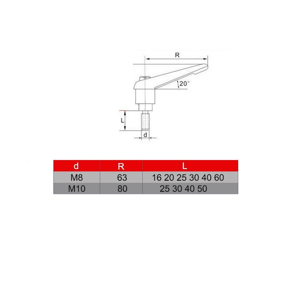 M8*30 M8 16-60mm Palanca de Sujeci/ón Palanca Ajustable Manija Manija Perno de Rosca Macho Externo