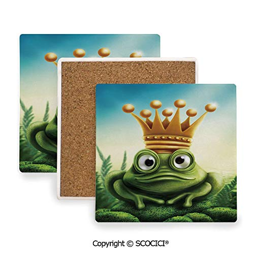 Ceramic coaster With wood Bottom Protection, For Mugs, Wine Glasses, Protects Furniture Square,King,Frog Prince on Moss Stone with Crown Fairytale,3.9