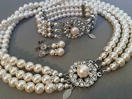 Complete Jewelry Set with Classic Pearl Necklace Bracelet Earrings in a Vintage style like Jackie O Fancy Rhinestone Clasp 3 multi strands Swarovski pearls White or Ivory by Alexi Blackwell Bridal -