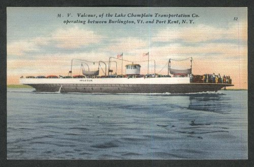 MV Valcour Lake Champlain Transportation Co postcard 1930s from The Jumping Frog