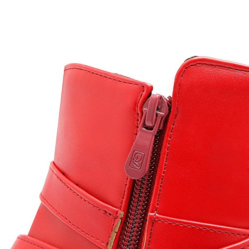 AllhqFashion Mujeres Cremallera Tacón ancho Sólido Caña Baja Botas con Hebilla Rojo