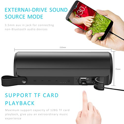 Bluetooth Speakers, Aptoyu 10W Outdoor Dual-Driver Portable Wireless Speaker with Built-in Microphone Support Hands-free and 33-Foot Bluetooth Range,Strong Bass Stereo Sound and Powerful Volume