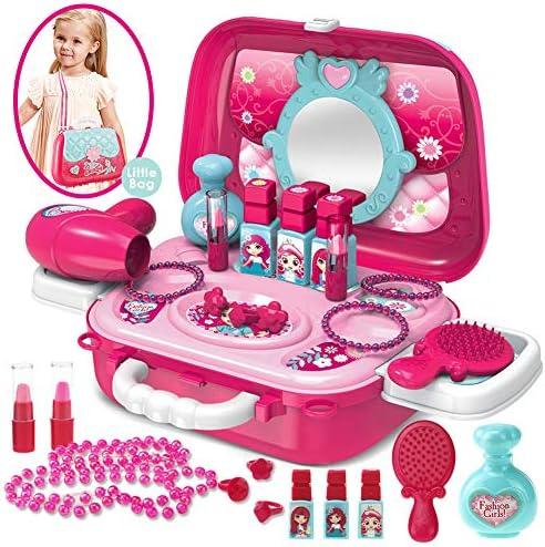 Buyger 21 Stück Prinzessin Rollenspiel Schminkset Spielzeug Schminksachen Schönheit Koffer Umhängetasche für Kinder Mädchen