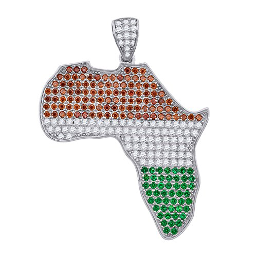 Sterling Silver Mens Radiant Cubic Zirconia CZ Africa Map Charm Pendant by Jewels By Lux