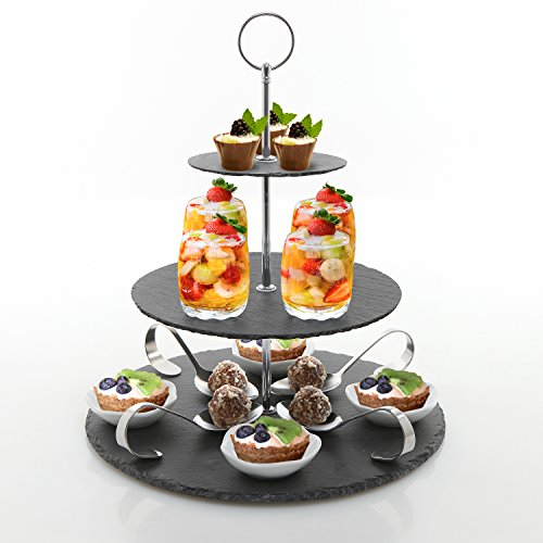 3 Tier Black Slate Tea Party Server with 4 sets of Glasses, Ceramic Bowls & Appetizer Spoon Dish, Cupcake Dessert Stand