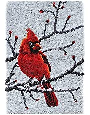 Latch Hook Kits Rug, Cardinal Crocheting Carpet Rug Embroidery Cushion Making Crafts for Kids/Adults 20.5X15 Inch