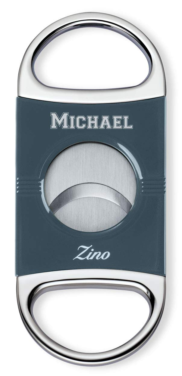 Personalized Zino Z2 Double Blade Cigar Cutter with Free Engraving (Blue)