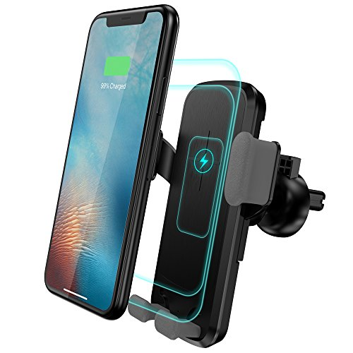 Sebsee Qi Wireless Fast Charger Car Air Vent Mount Compatible iPhone Samsung Galaxy Mobile Phone Stand