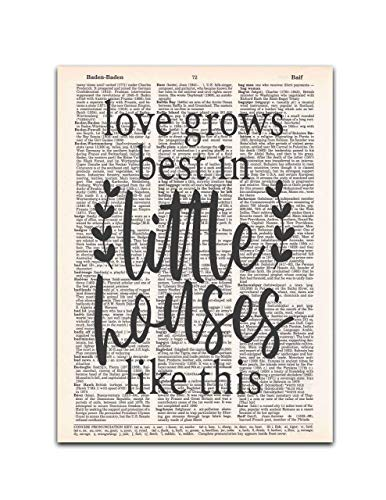 Love Grows Best in Little Houses Like This, Dictionary Page Art Print, 8x11 inches, Unframed