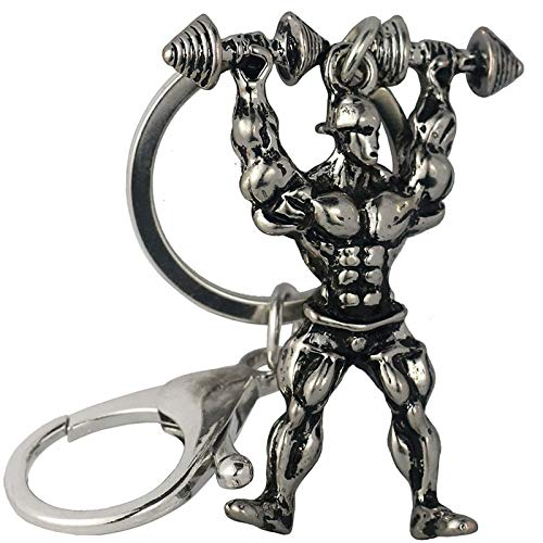 Wall of Dragon Key Chain Strong Man Dumbbell Keychain Men Fitness Bodybuilding Key Chains for Car Wallet Keys Ring Gym Gifts 1 PC