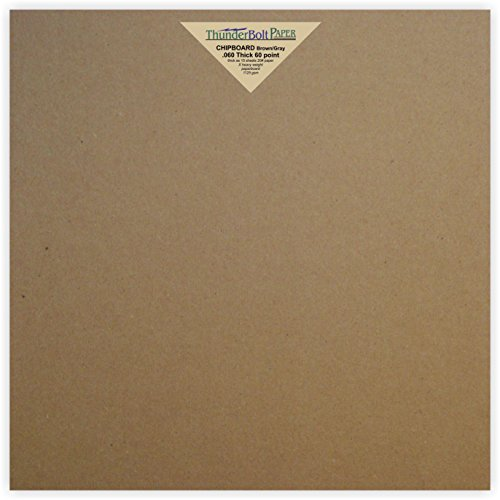 Scrapbook Album 12x12 Chipboard (12 Sheets Brown Chipboard 60 Point Extra Thick 12 X 12 Inches Scrapbook Size .060 Caliper X Heavy Cardboard as Thick as 15 Sheets of Regular Paper)