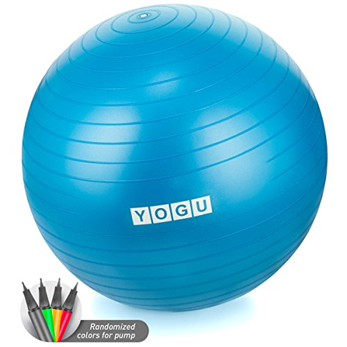 Yogu Stability Exercise Ball 65cm Balance Ball Birthing Ball with Air Pump Anti-Slip & Anti-Burst Supports 2000lbs Great for Yoga Pilates Abdominal Workout Fitness Ball and Office Chair (Need Balls)