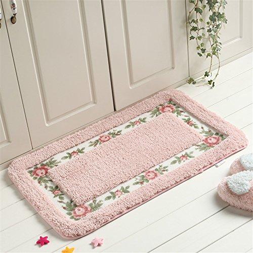 Hepix Door Mat, Soft Floral Rose Floor Mat Area Rug for Door, Bedroom, Bathtub, Kitchen 16 by 24 Inch - Pink