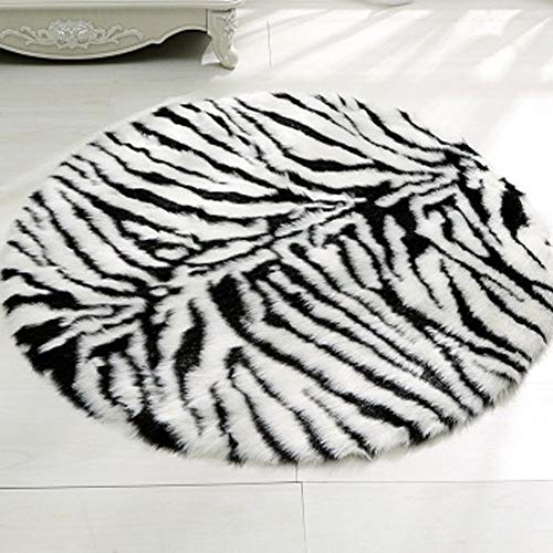 - Faux Fur Zebra Skin Rug Animal Friendly Faux Fur Kids Rug Children Carpet 5' Round