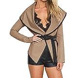 Sweaters For Women Liraly Fashion Autumn Open Jacket Blous With Belt Winter Woolen Coat(Khaki,US-10 /CN-XL)