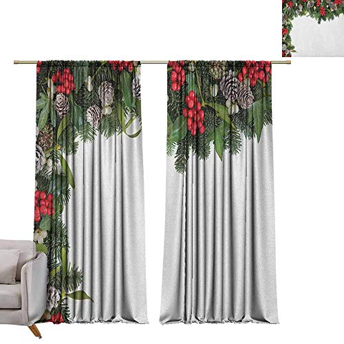 berrly Blackout Curtains Christmas,Winter Frame with Holly Ivy Mistletoe Spruce Fir and Pine Cones Arrangement Image, Multicolor W84 x L96 Grommet Window Drapes