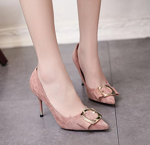 With Light Point Fall The KHSKX Sweet Heeled Tie 34 High Single Shoes New Pink Girl The In Metal Slim Buckle Bow Shoes va7zxqvOw
