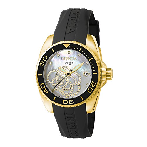 Invicta Women's 0489 Angel Collection Cubic Zirconia-Accented Watch With Black PU - For Watch Women Invicta