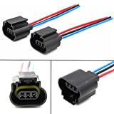 Lanlan 2pcs H13 Headlight Assembly Female Socket Plug Adapter Extension Wire Connector with Line
