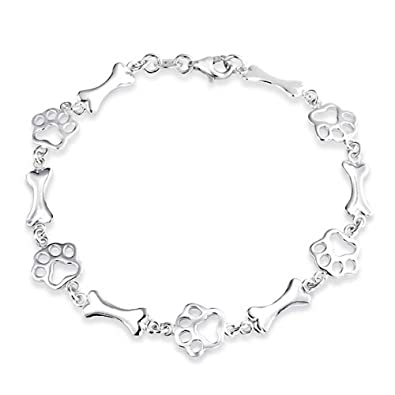 474f6c80e3b Amazon.com  Pet Lover Dog Puppy Paw Print BFF Bone Link Multi Charm Bracelet  For Women For Teens 925 Sterling Silver  Jewelry