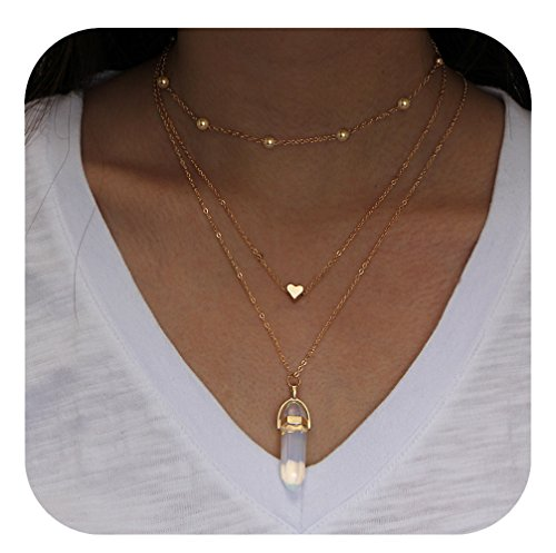 Layered Chain Choker Necklace Heart Rhinestone Crystal Quartz Pendant Women Boho Multilayer Jewelry (White) ()