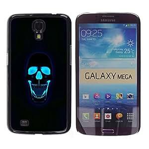 Cráneo Negro Neón Agua Roca Death Metal- Metal de aluminio y de plástico duro Caja del teléfono - Negro - Samsung Galaxy Mega 6.3