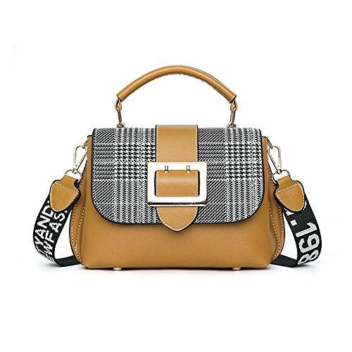 LUXIAO 2018 nuevo bolso de la PU bolso de hombro salvaje del mensajero de la tela escocesa para las mujeres Amarillo