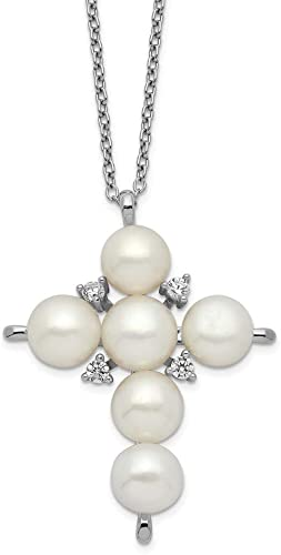 Sterling Silver Freshwater Pearl Starfish Cubic Zirconia Pendant Necklace